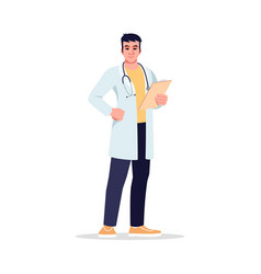 Primary care physician semi flat rgb color vector