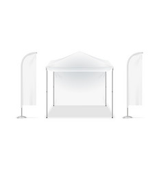 realistic detailed 3d white blank adv beach tent vector image