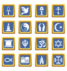 Religion icons set blue square vector