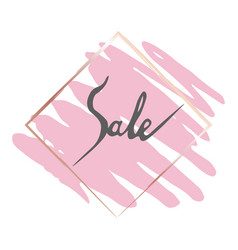 sales gold frame and pink brush vector image