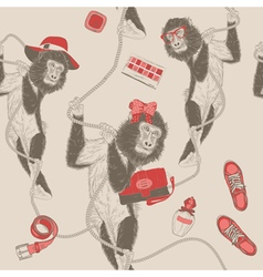 seamless pattern with Monkey vector image