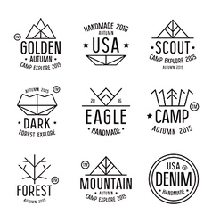 Set of badges in thin line style vector