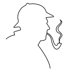 Sherlock holmes one line drawing vector