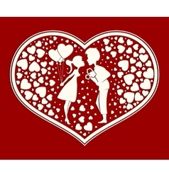 Silhouette heart in love boy and girl vector image
