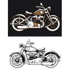 silhouette vintage biker motorcycle sideview vector image