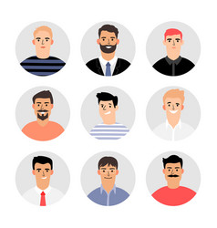Smiling men faces avatars vector