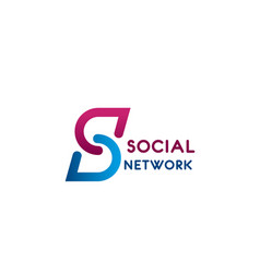 Social network letter s icon vector