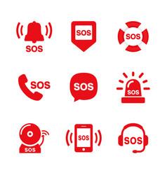 Sos icon set vector
