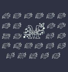 Split letters monogram font alphabet vector