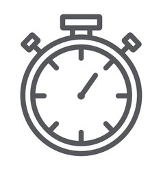 stopwatch line icon measure and countdown timer vector image