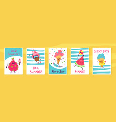 summer cute cards cute doodle cupcake and ice vector image