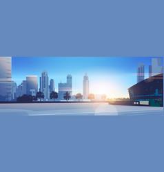 sunset skyscraper buildings modern cityscape vector image