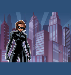 Superheroine battle mode city vector