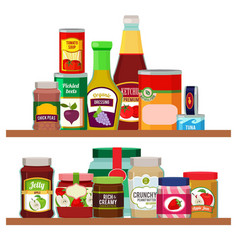 Supermarket foods grocery items on shelves vector