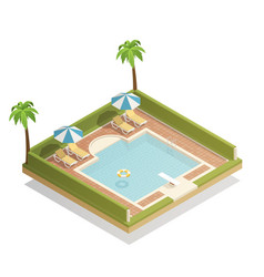 Swimming pool outdoor isometric composition vector