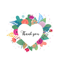 Thank you card big white heart with colorful vector