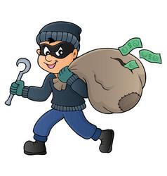Thief with bag money theme 1 vector