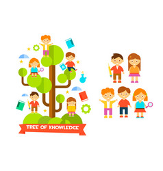 Tree of knowledge with boys ad girls education vector
