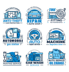 Vehicle repair and maintenance service icons vector