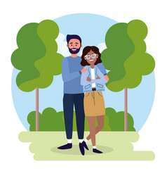 woman and man couple with casual clothes vector image