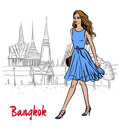 Woman near grand palace and wat prakeaw vector