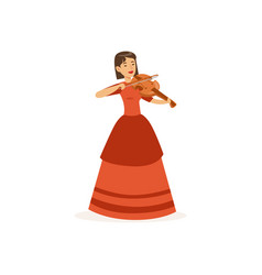 Woman violinist performing musical composition vector