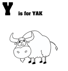 Yak cartoon with letter vector image