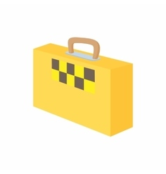 Yellow suitcase with a taxi sign icon vector