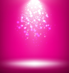 Illuminated Stage with Light Template on Pink vector image vector image