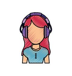 woman with headphones vector image vector image