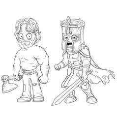 Cartoon knight with axe and sword character set vector