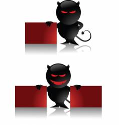 devil toy and banner vector image vector image