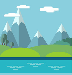 pastoral landscape with mountains and trees vector image vector image