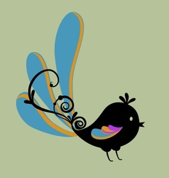 bird with swirl vector image vector image