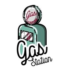 Color vintage gas station emblem vector image