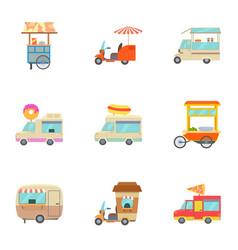 food truck icons set cartoon style vector image