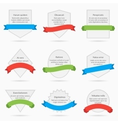 White banner cards with ribbons isolated on vector image