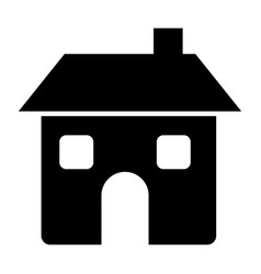 black silhouette of house two floors and chimney vector image vector image