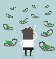 Businessman look at money on trap vector image