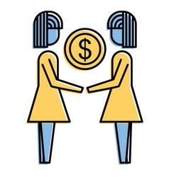 Businesswomen holding money coin dollar finance vector