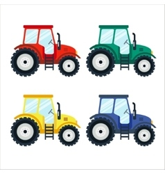 Colorful tractors on white background flat style vector image
