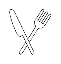 fork and knife restaurant utesil silverware tool vector image