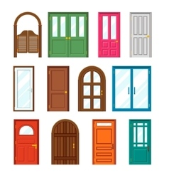 Set of front buildings doors in flat design style vector image vector image