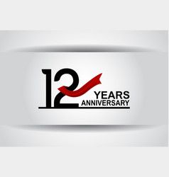 12 years anniversary design with red ribbon vector