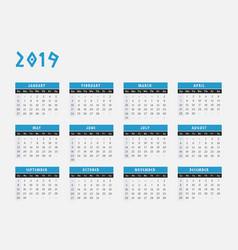 2019 year calendar horizontal design vector