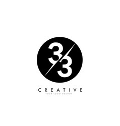 33 3 3 number logo design with a creative cut vector