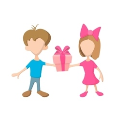 A girl and a boy holding a gift box with ribbon vector