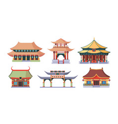 asian temples and palaces set traditional ancient vector image