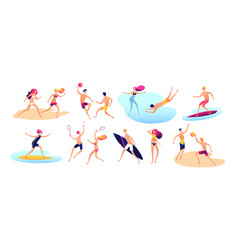 beach people summer vacation family beach active vector image