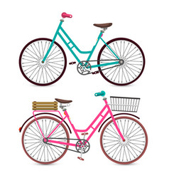bicycle icon bike symbol pink and blue retro vector image